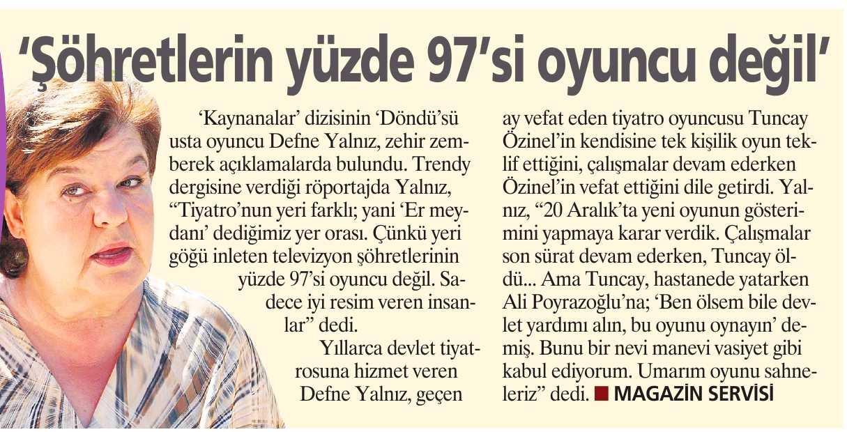 Defne Yalnız - Milliyet Gazetesi Haberi 1