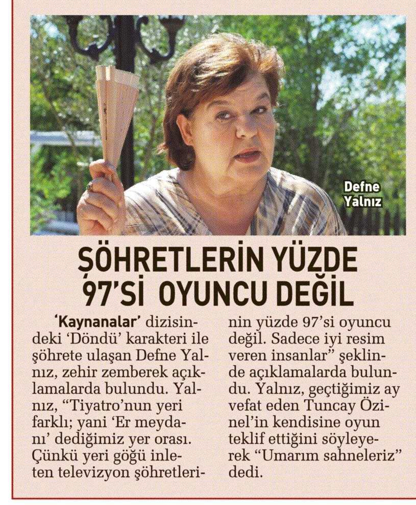 Defne Yalnız - Sabah Günaydın Gazetesi Haberi 1