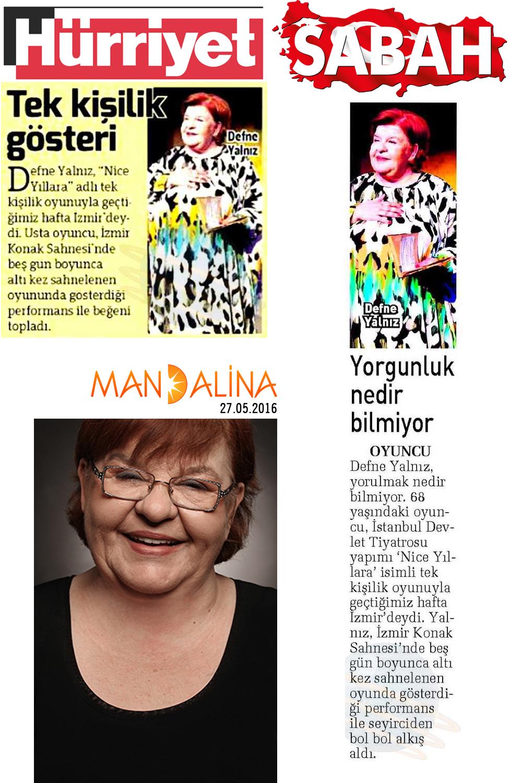 Defne Yalnız - Sabah ve Hürriyet Gazetesi Haberi
