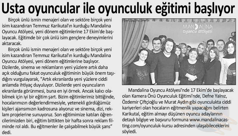Mandalina Oyuncu Atölyesi - İstanbul Gazetesi Haberi