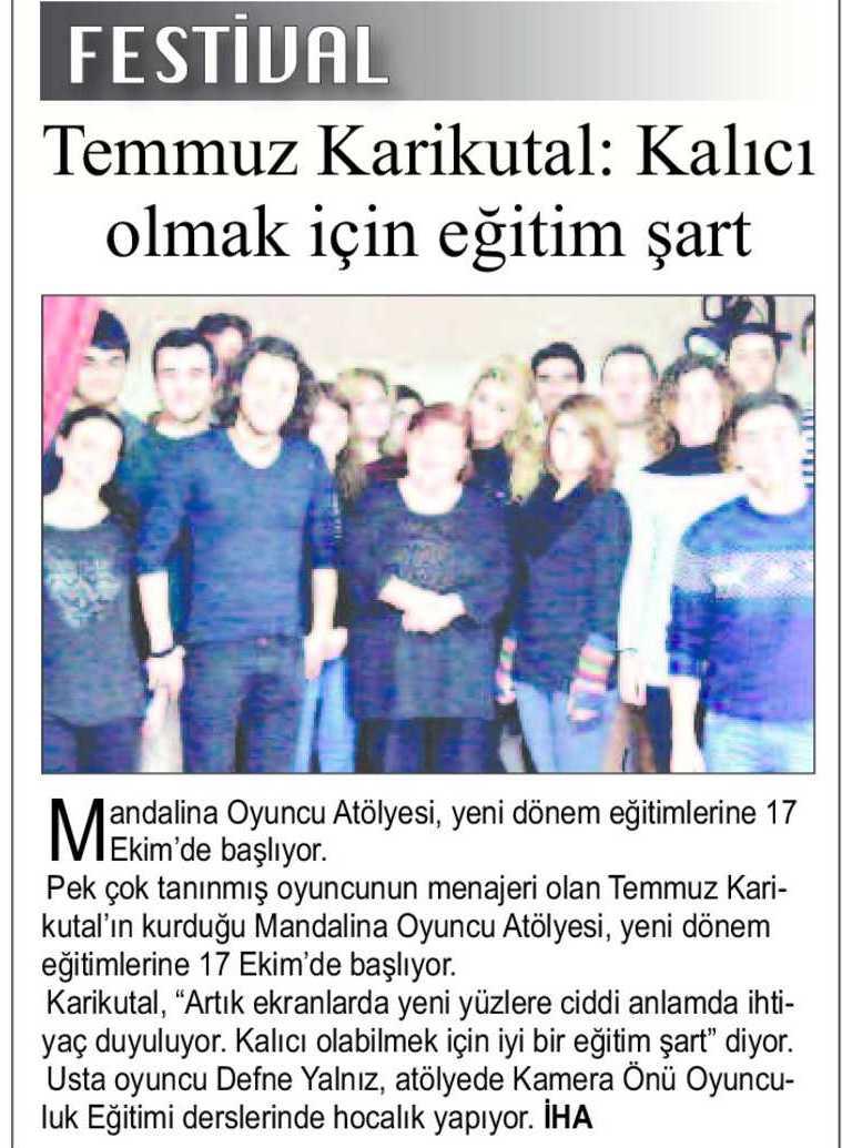 Mandalina Oyuncu Atölyesi - Şok Gazetesi Haberi