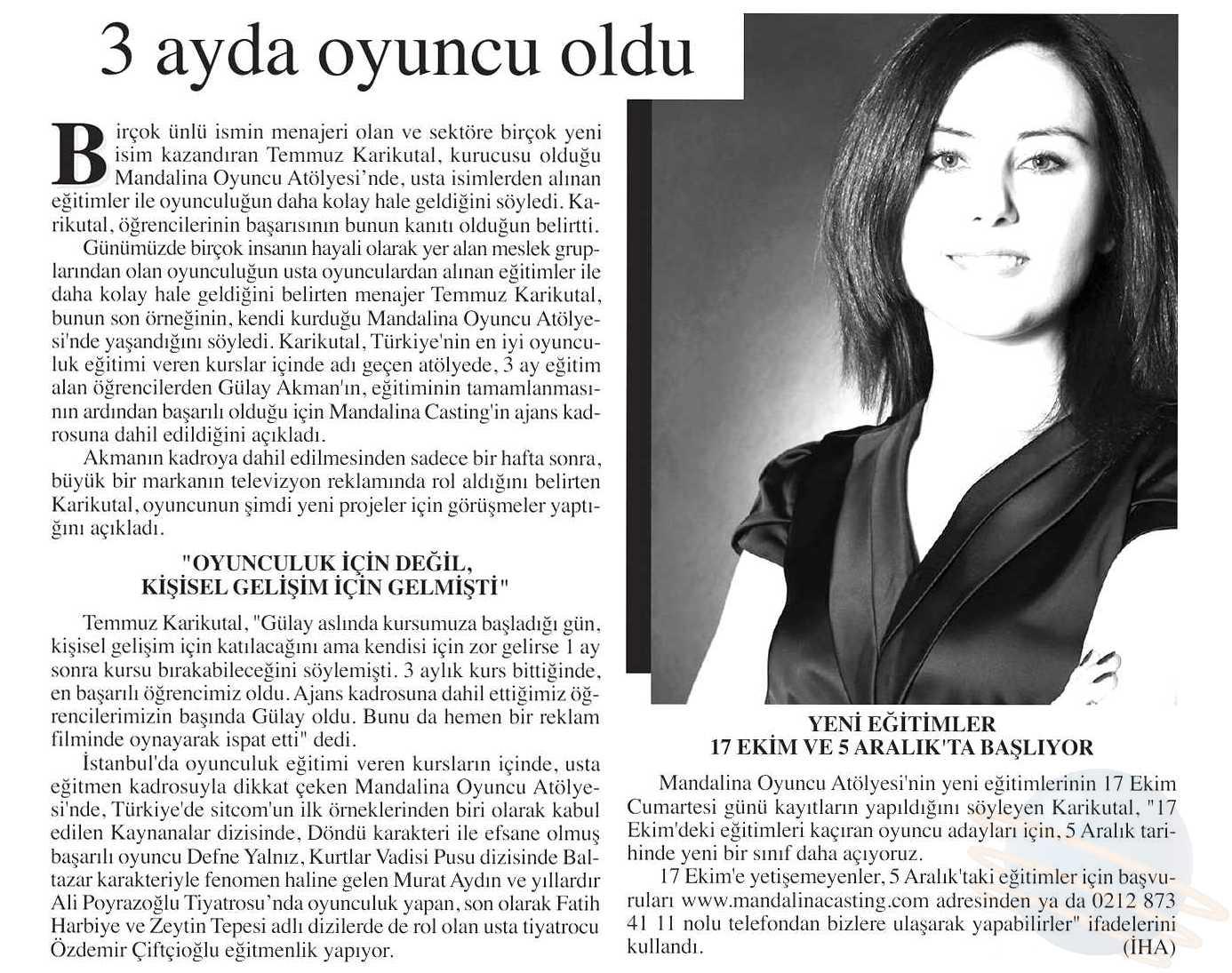 Mandalina Oyuncu Atölyesi Gülay Akman - İstanbul Gazetesi