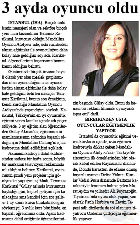 Mandalina Oyuncu Atölyesi Gülay Akman - Star Gazetesi