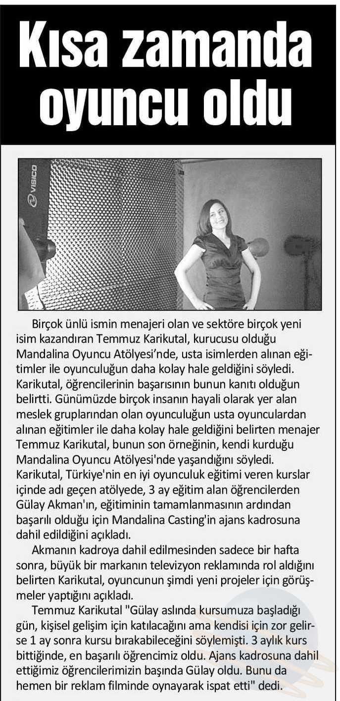 Mandalina Oyuncu Atölyesi öğrencisi Gülay Akman - Akşam Gazetesi