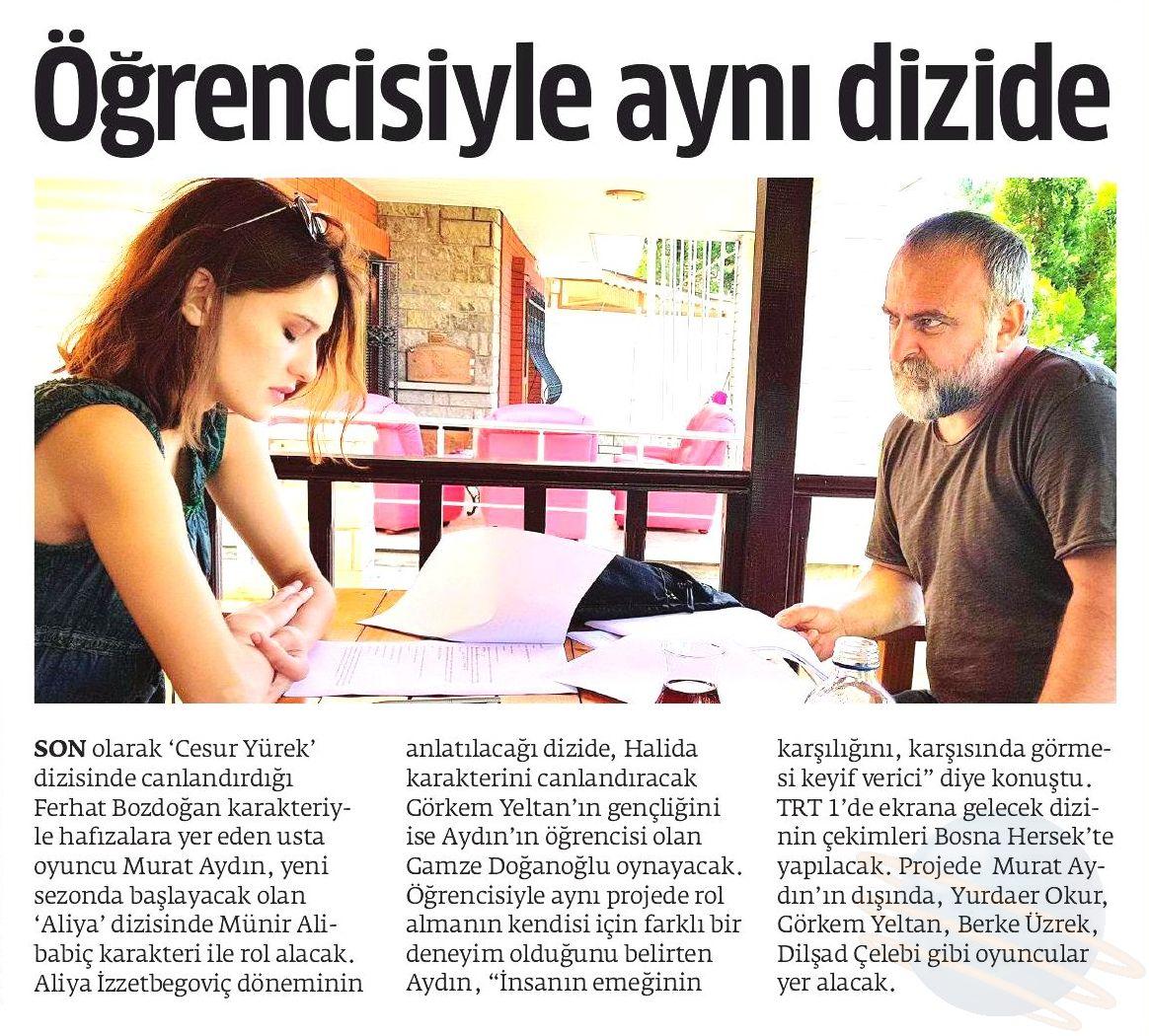 Mandalina Oyunculuk Kursu ve Murat Aydın - Akşam Gazetesi Haberi