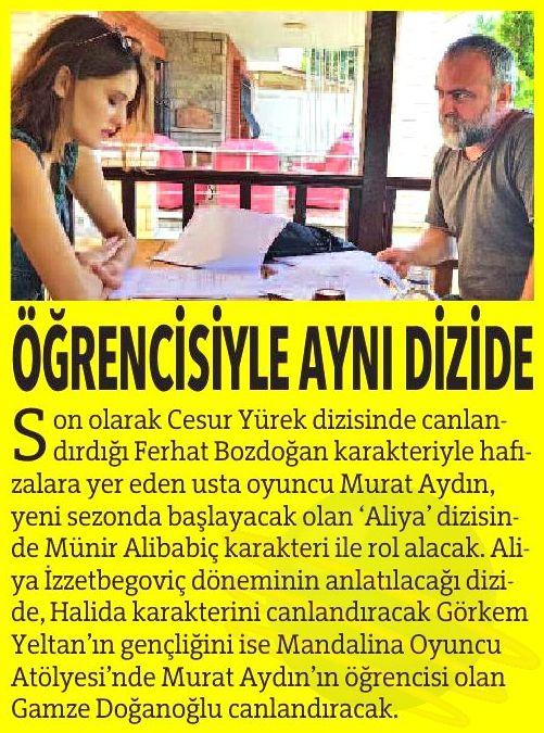 Mandalina Oyunculuk Kursu ve Murat Aydın - Star Gazetesi Haberi