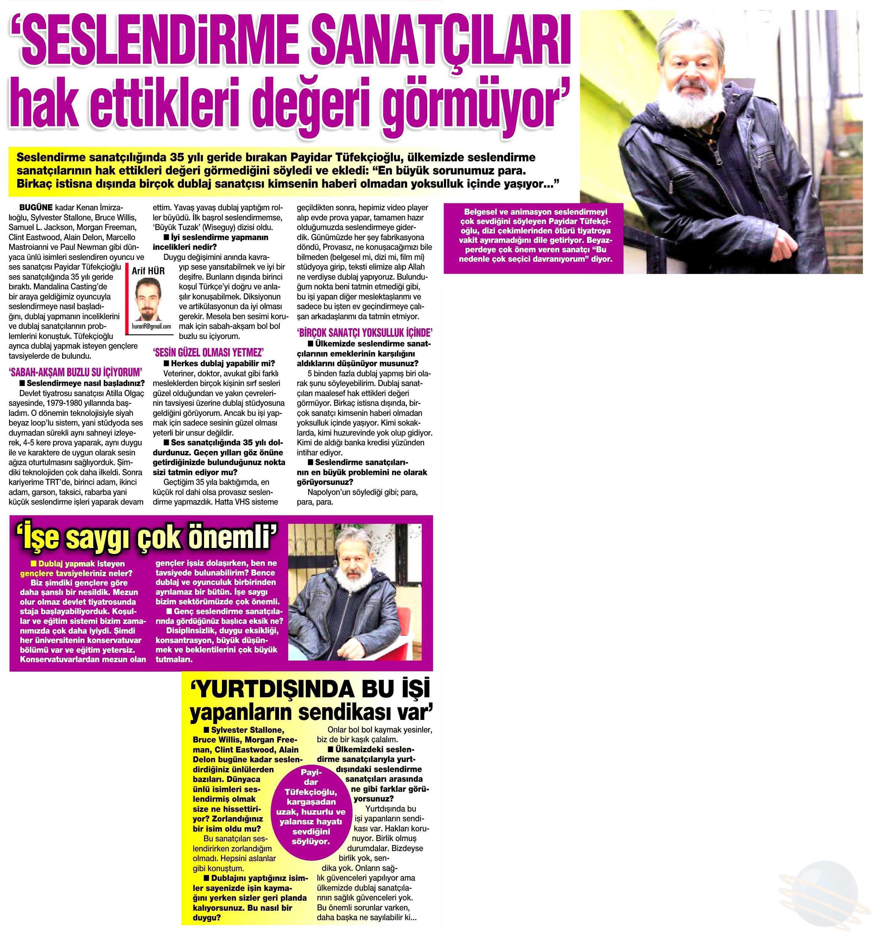 Payidar Tüfekçioğlu - HaberTürk Gazetesi Röportajı