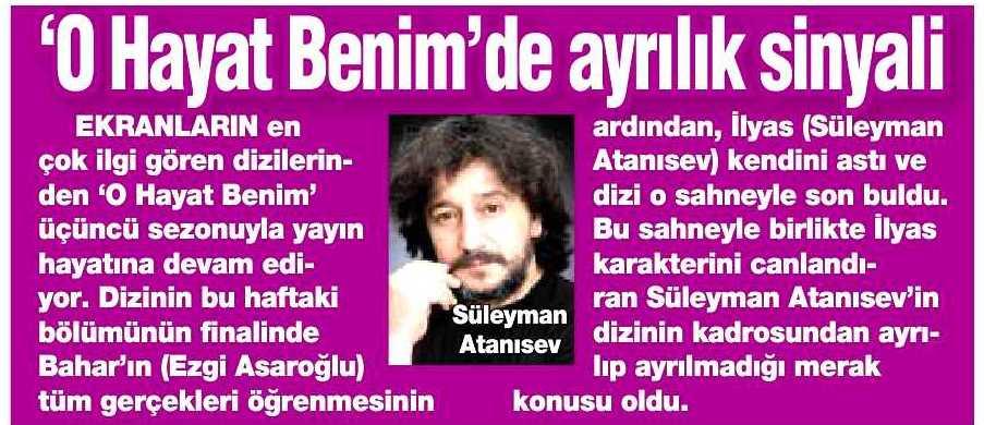 Süleyman Atanısev - HaberTürk Gazetesi Haberi