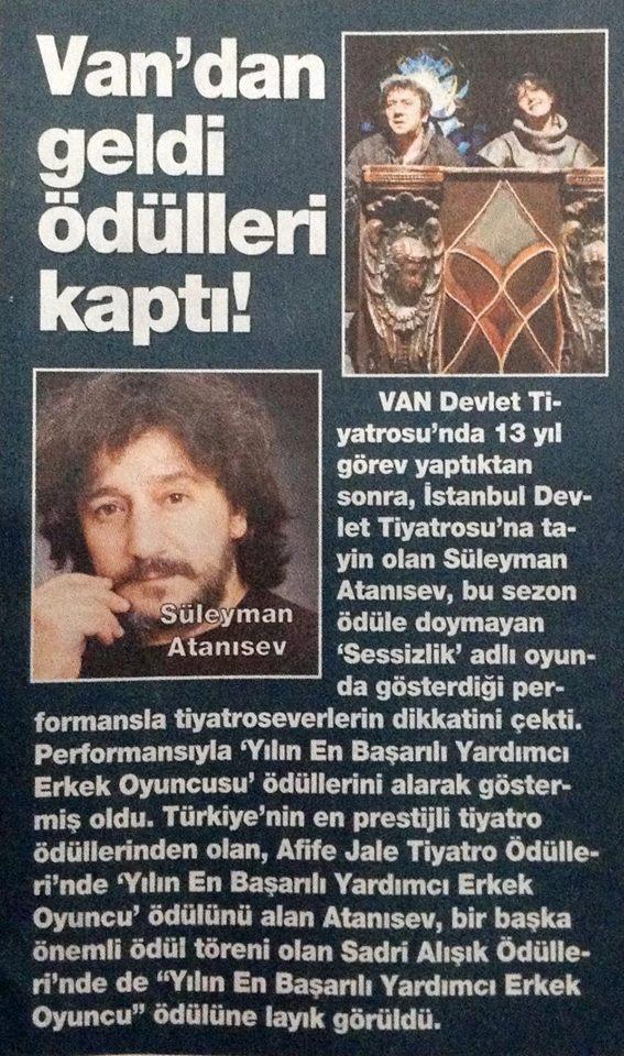 Süleyman Atanısev - HaberTürk HT Magazin Gazetesi Haberi